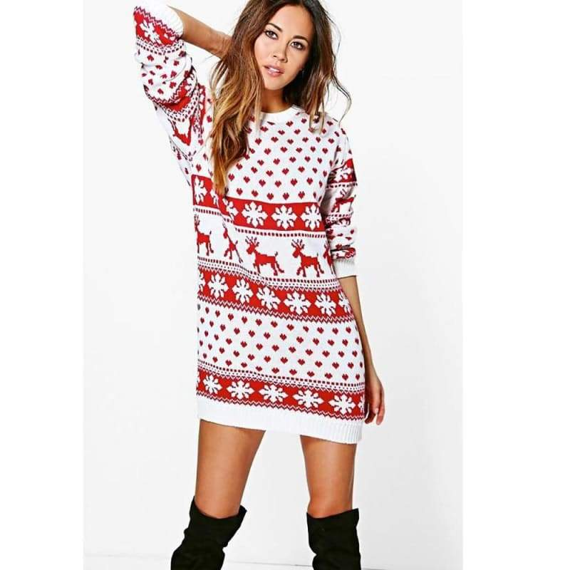 Christmas Winter Ladies Warm Brief Sweaters - Christmas Dresses