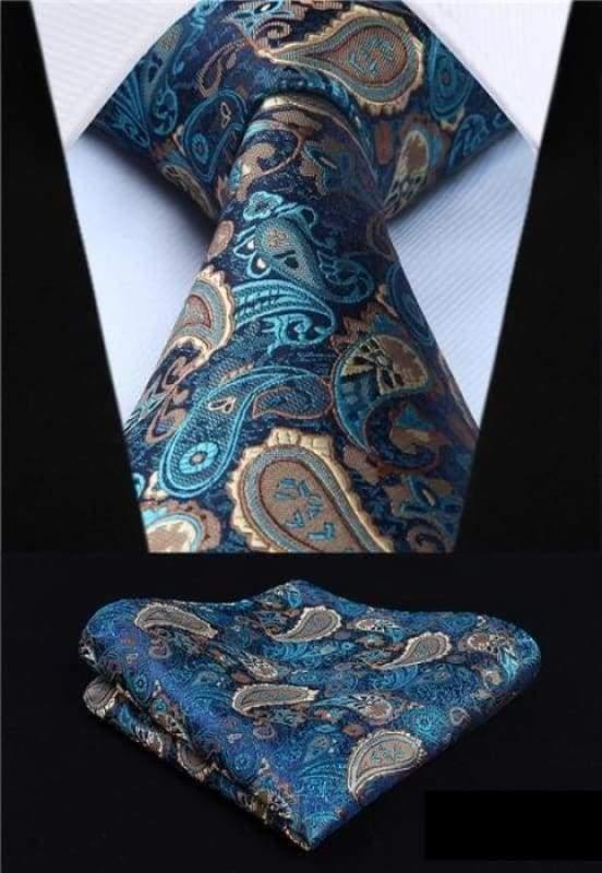 Classic woven silk necktie set - P001 - Mens Ties & Handkerchiefs
