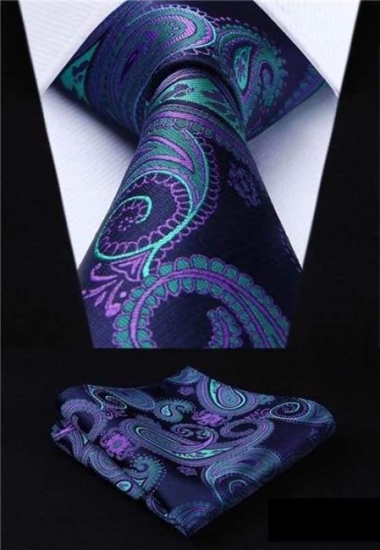 Classic woven silk necktie set - P002 - Mens Ties & Handkerchiefs