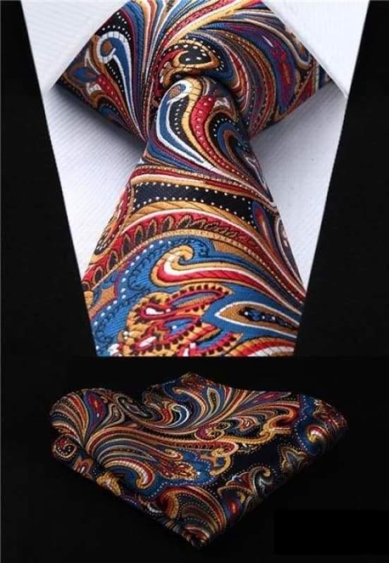 Classic woven silk necktie set - P003 - Mens Ties & Handkerchiefs