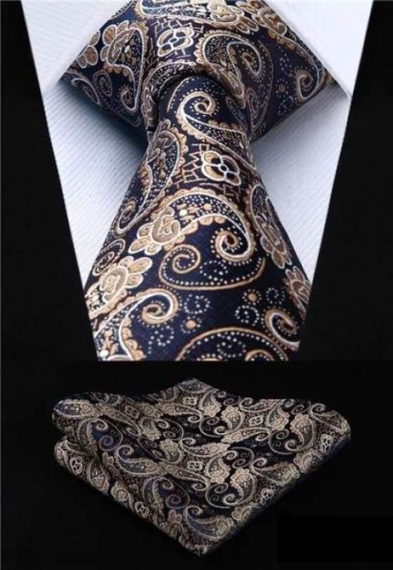 Classic woven silk necktie set - P004 - Mens Ties & Handkerchiefs