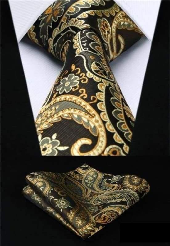 Classic woven silk necktie set - P005 - Mens Ties & Handkerchiefs
