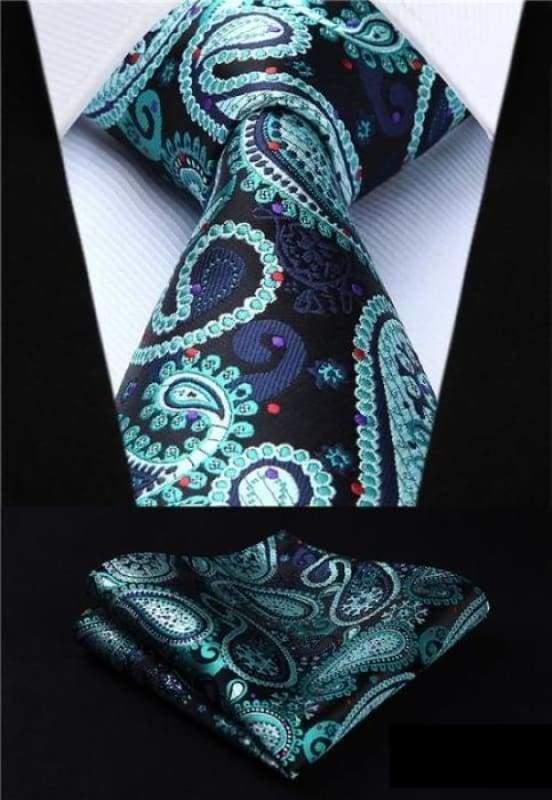 Classic woven silk necktie set - P006 - Mens Ties & Handkerchiefs