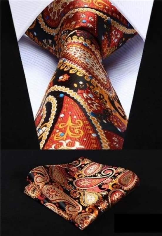 Classic woven silk necktie set - P007 - Mens Ties & Handkerchiefs