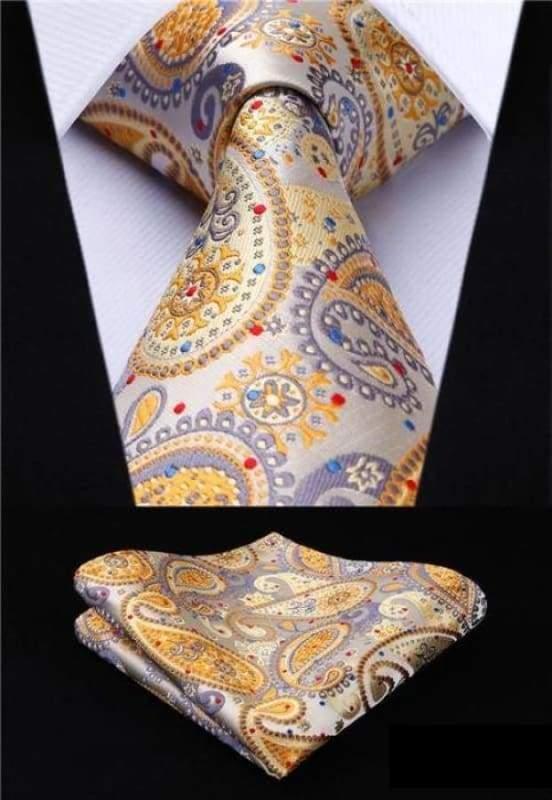 Classic woven silk necktie set - P008 - Mens Ties & Handkerchiefs