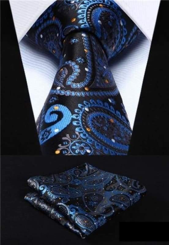 Classic woven silk necktie set - P009 - Mens Ties & Handkerchiefs