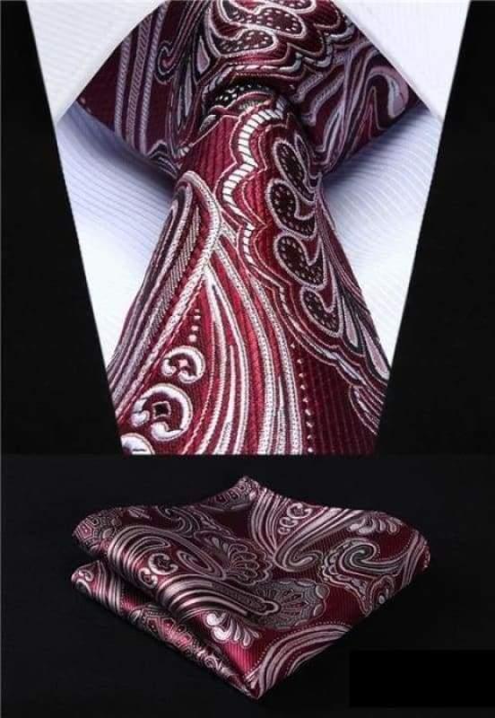 Classic woven silk necktie set - P010 - Mens Ties & Handkerchiefs