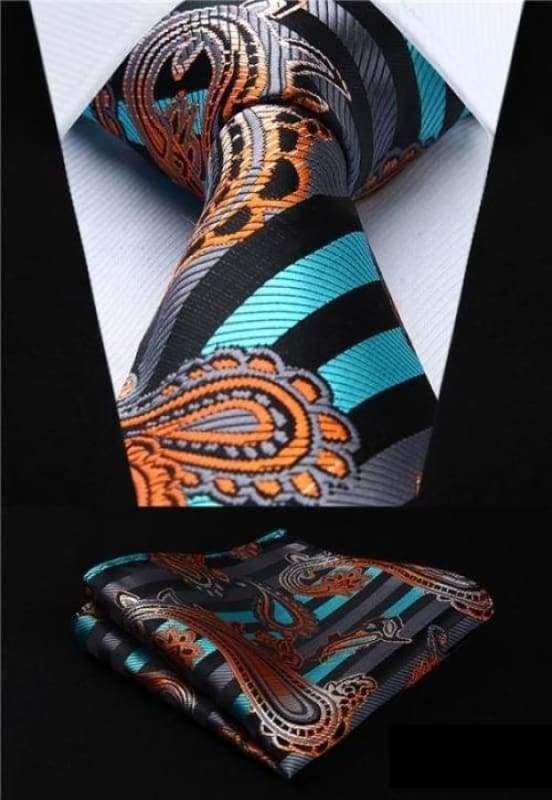 Classic woven silk necktie set - P011 - Mens Ties & Handkerchiefs