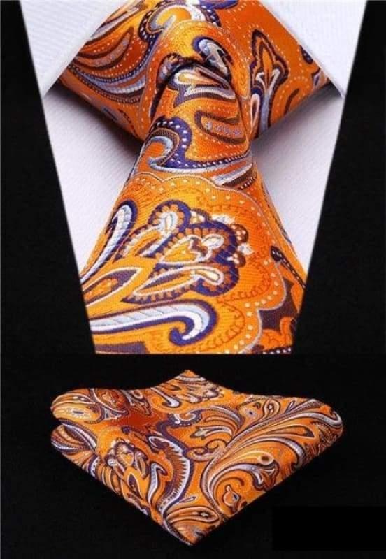 Classic woven silk necktie set - P012 - Mens Ties & Handkerchiefs