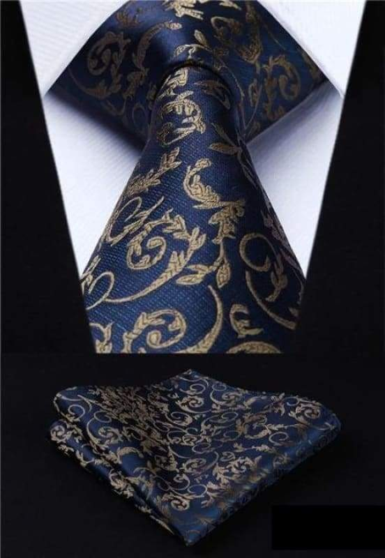 Classic woven silk necktie set - P013 - Mens Ties & Handkerchiefs