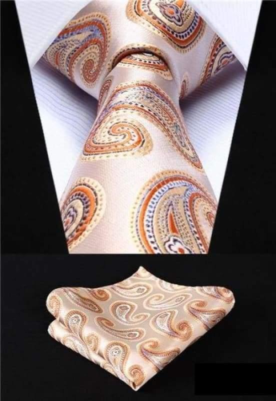 Classic woven silk necktie set - P014 - Mens Ties & Handkerchiefs