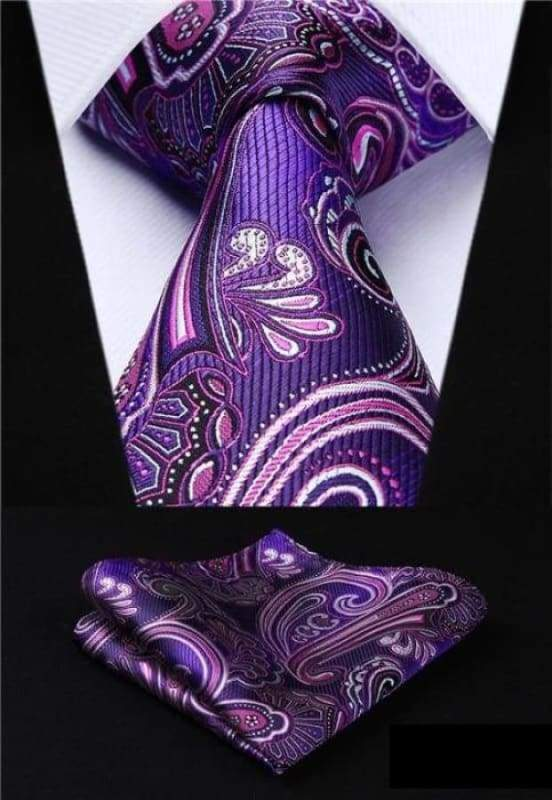 Classic woven silk necktie set - P015 - Mens Ties & Handkerchiefs