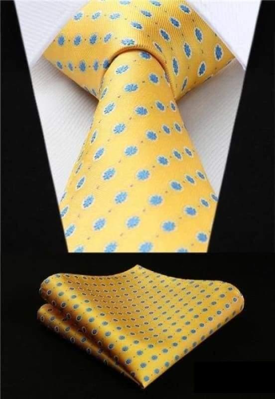 Classic woven silk necktie set - P016 - Mens Ties & Handkerchiefs