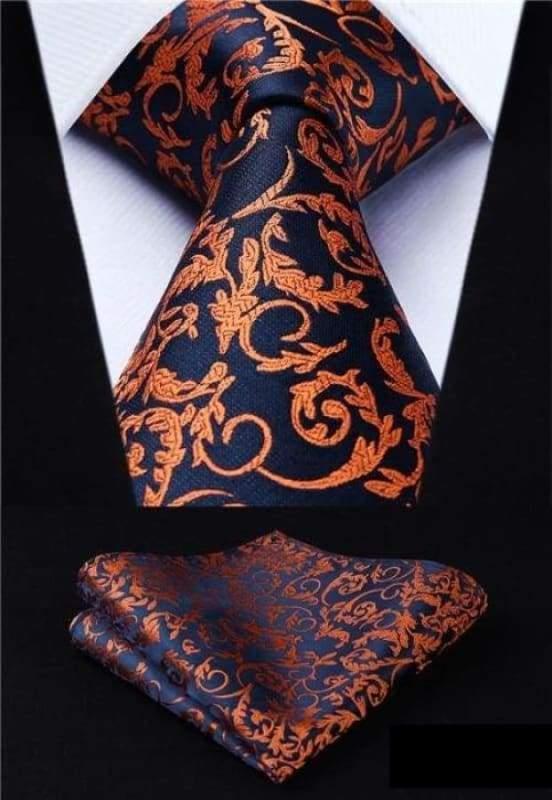 Classic woven silk necktie set - P017 - Mens Ties & Handkerchiefs