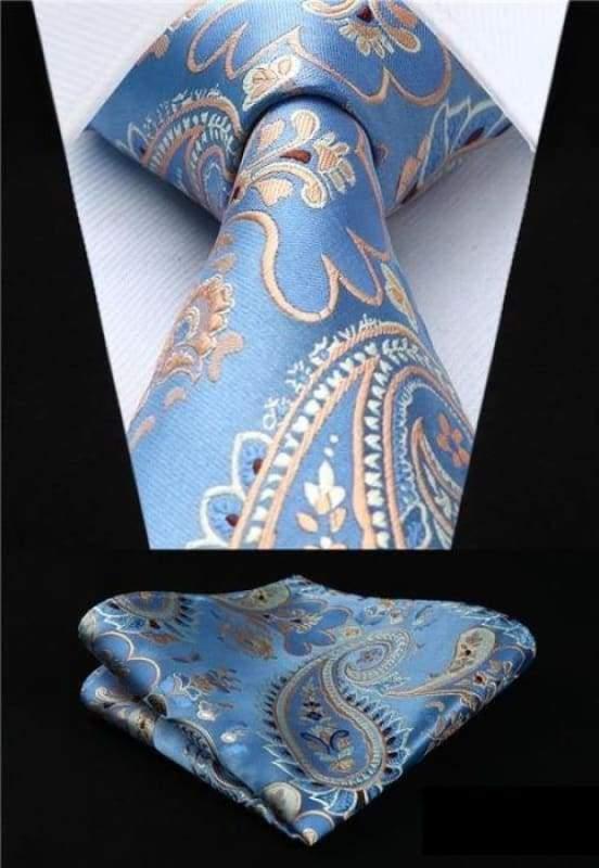Classic woven silk necktie set - P018 - Mens Ties & Handkerchiefs