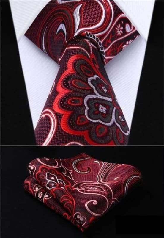 Classic woven silk necktie set - P019 - Mens Ties & Handkerchiefs