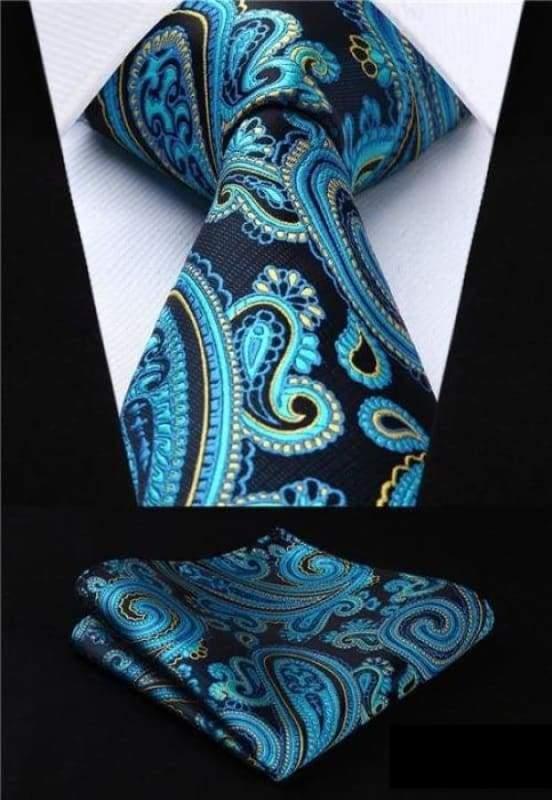 Classic woven silk necktie set - P020 - Mens Ties & Handkerchiefs