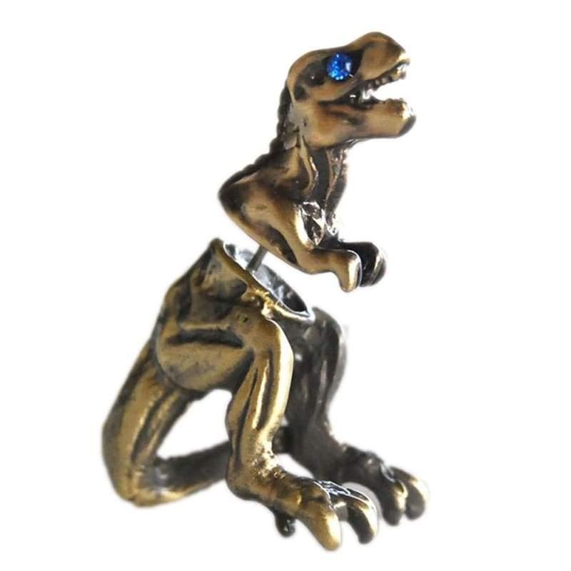 Cool Punk Rock Dinosaur Designs Earrings - brone - Stud Earrings