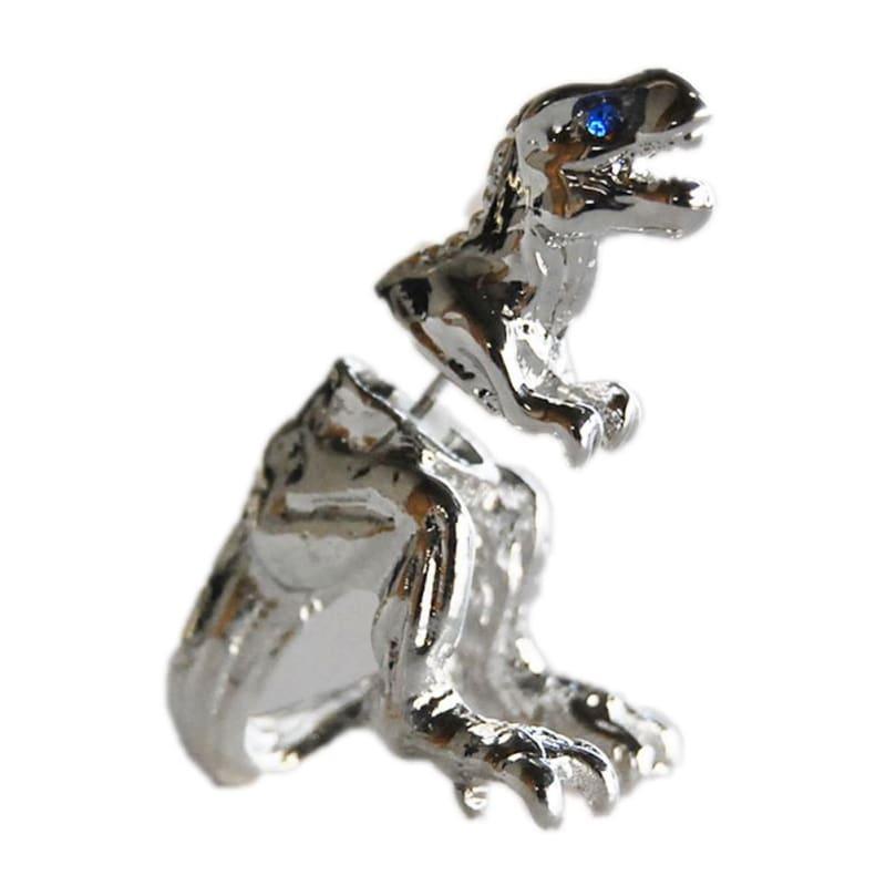 Cool Punk Rock Dinosaur Designs Earrings - silver - Stud Earrings