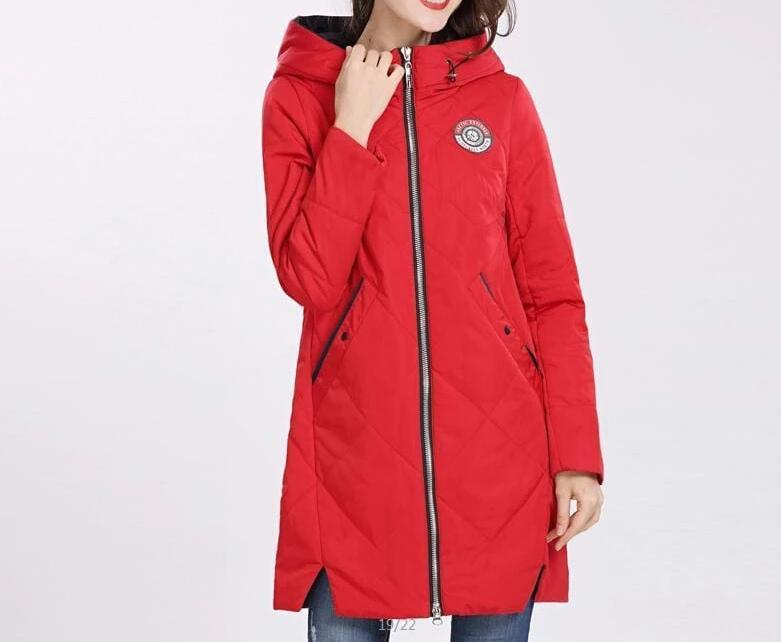 Thin Cotton Parka Women Just For You - red / M - Women Coat