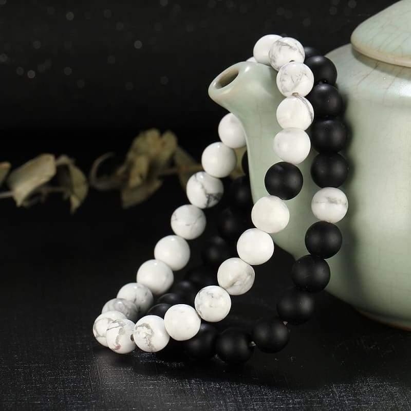 Couples Bracelet For Yoga Fitness Positive Energy - Black & White Couple bracelets - Chain & Link Bracelets