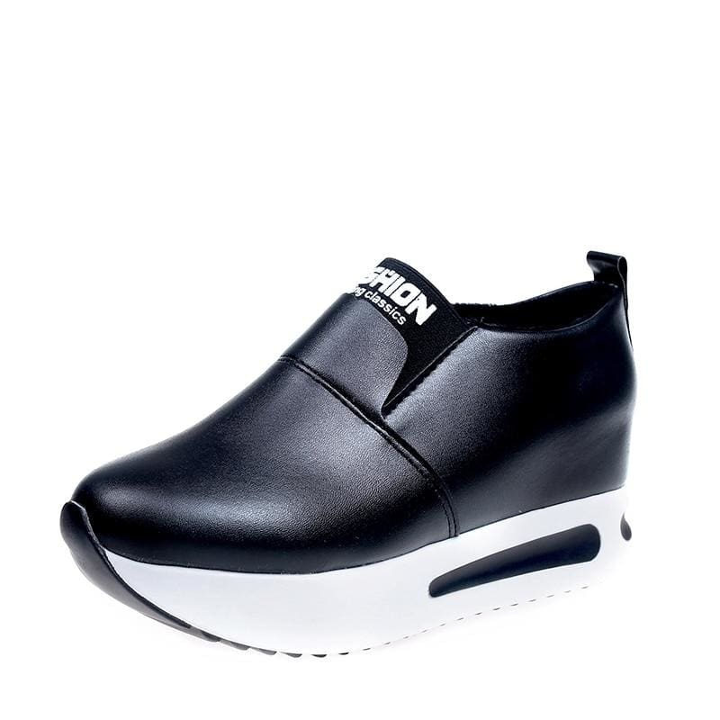 Creepers Spring Increasing Height Shoes - Black-PU / 4 - Womens Pumps
