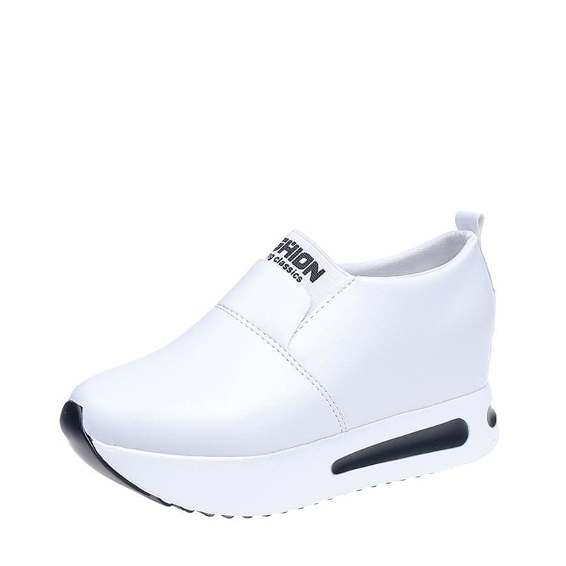 Creepers Spring Increasing Height Shoes - White-PU / 4 - Womens Pumps