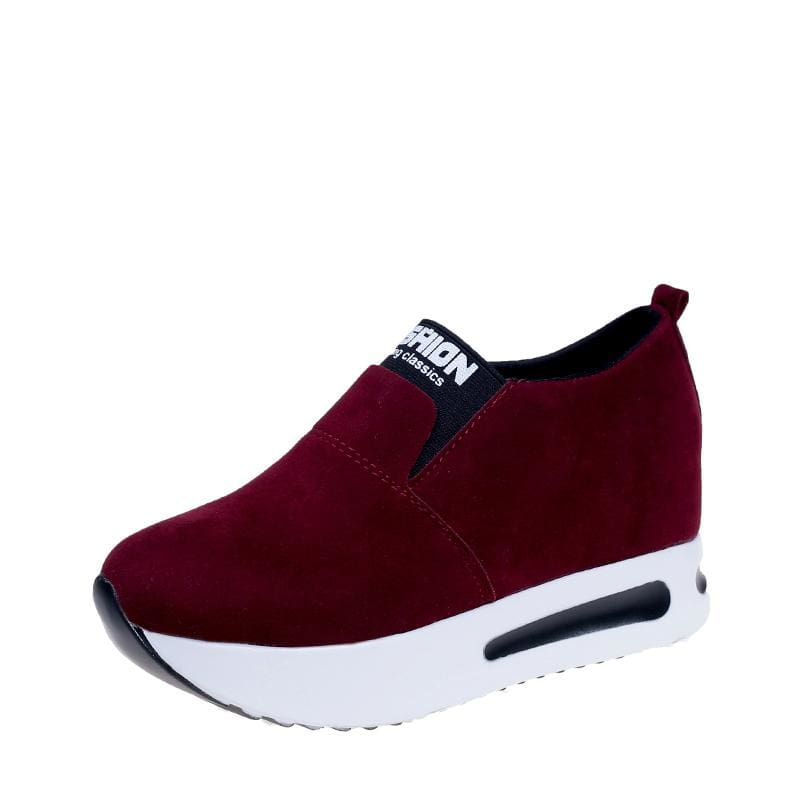 Creepers Spring Increasing Height Shoes - Wine Red-Flock / 4 - Womens Pumps