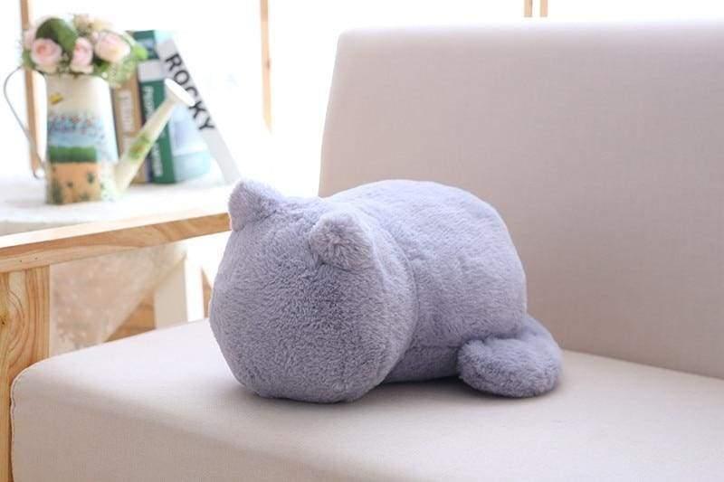 Cute cat fluffy pillow - Light Gray - Cushion