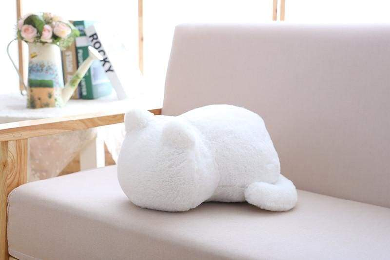 Cute cat fluffy pillow - White - Cushion