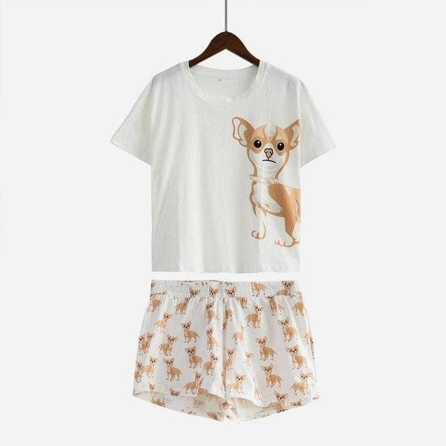Cute Dachshund Dog Womens Pajama set - Chihuahua set / L - Pajama Sets