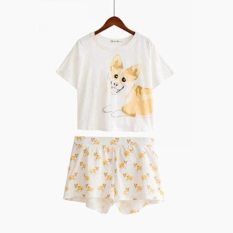 Cute Dachshund Dog Womens Pajama set - Corgi set / L - Pajama Sets