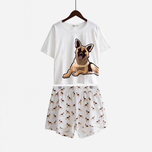 Cute Dachshund Dog Womens Pajama set - German Shepherd set / L - Pajama Sets
