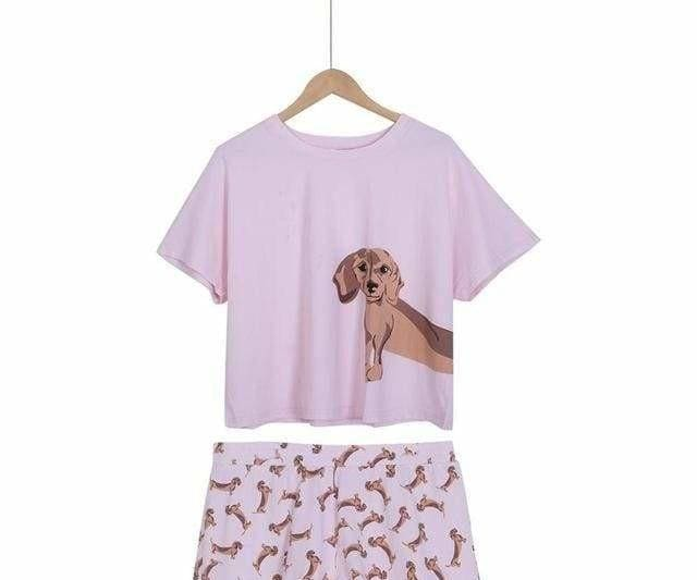 Cute Dachshund Dog Womens Pajama set - Dachshund set pink / L - Pajama Sets
