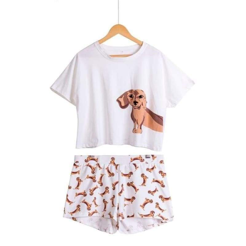 Cute Dachshund Dog Womens Pajama set - Pajama Sets