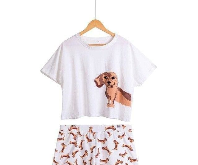 Cute Dachshund Dog Womens Pajama set - Dachshund set white / L - Pajama Sets