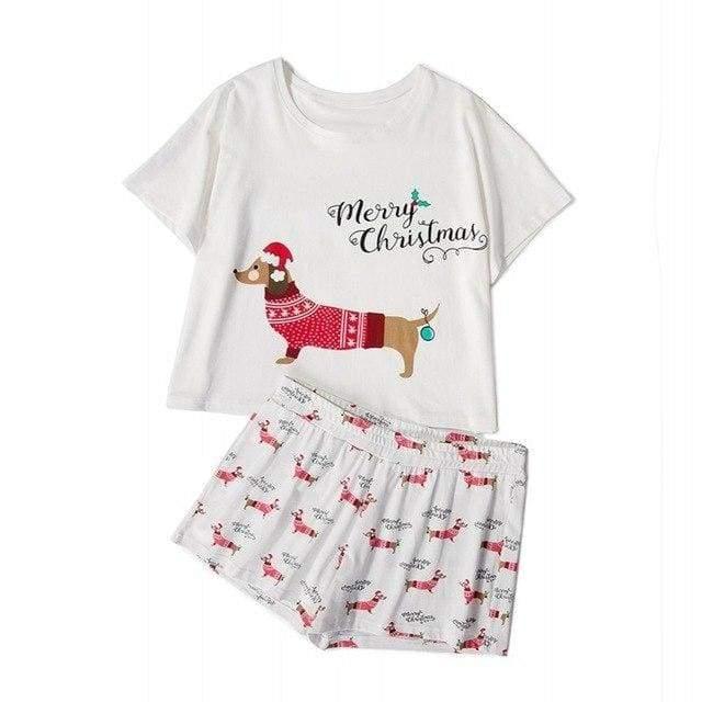 Cute Dachshund Dog Womens Pajama set - Xmas dachshund set / L - Pajama Sets