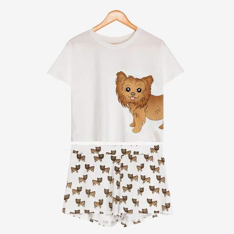 Cute Dachshund Dog Womens Pajama set - Yorkie set / L - Pajama Sets