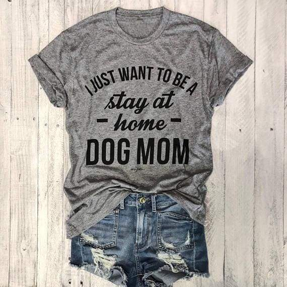 Dog T-shirt For Mom Love It - Black - white txt / S - T-Shirts