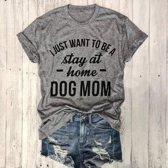 Dog T-shirt For Mom Love It - Black - white txt / S - T-Shirts