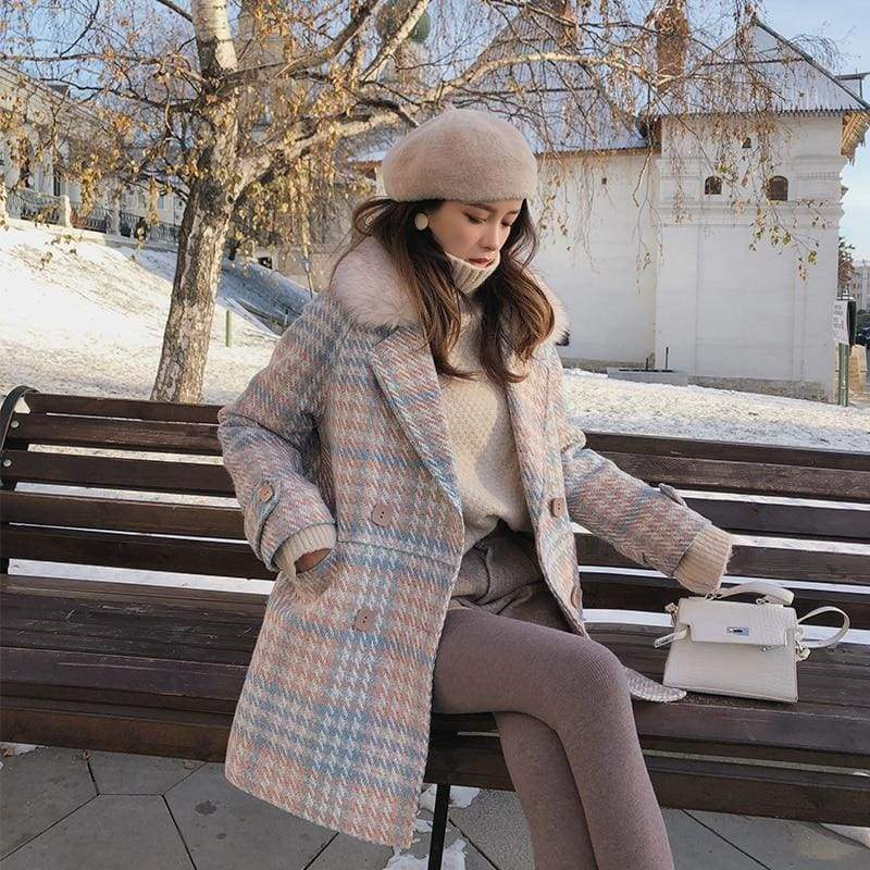 Double Breasted Woolen Coat Just For You - Pink / L - Woolen Coat