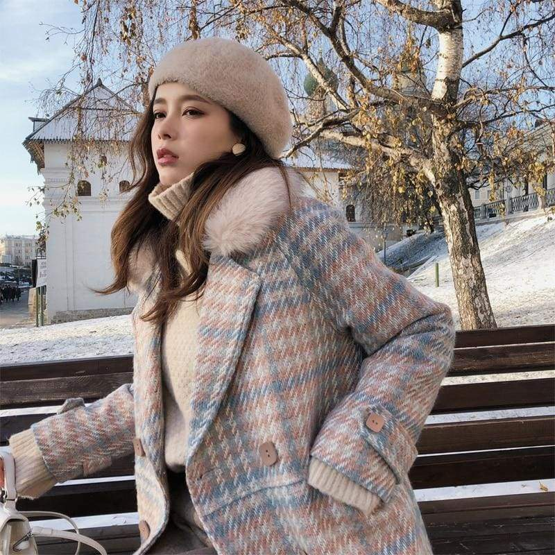 Double Breasted Woolen Coat Just For You - Pink / S - Woolen Coat