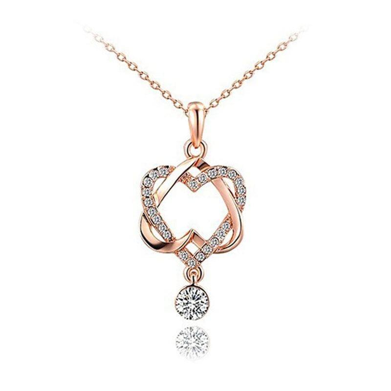 Double Heart Rose Gold Pendant - Pendant Necklaces