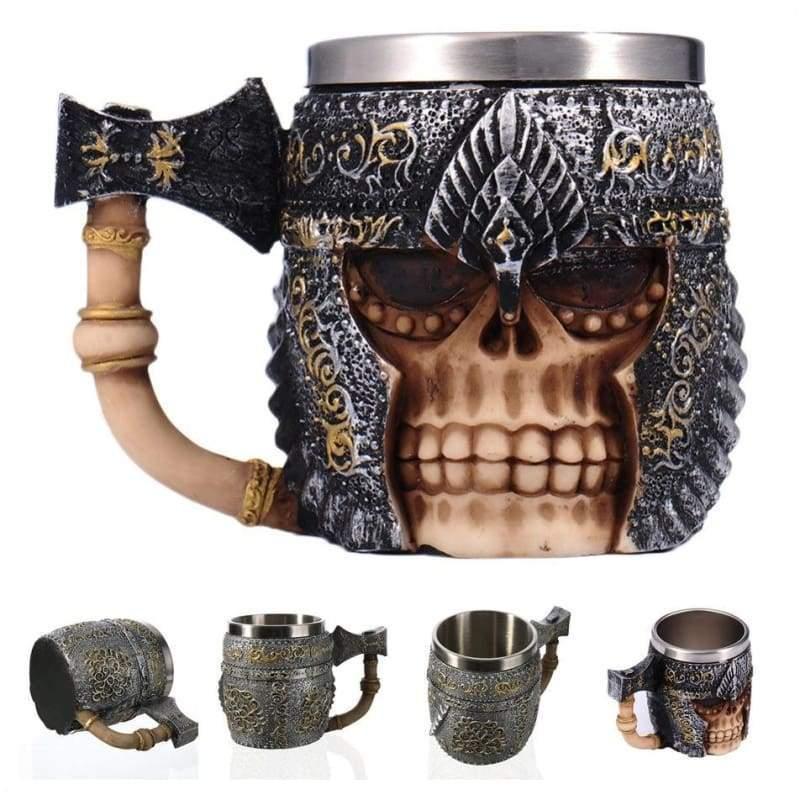 Retro Dragon Mug Skull - Axe Knight - Mugs