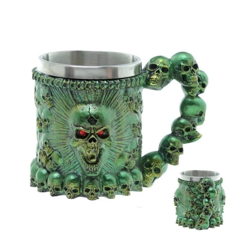 Retro Dragon Mug Skull - Green Monster - Mugs