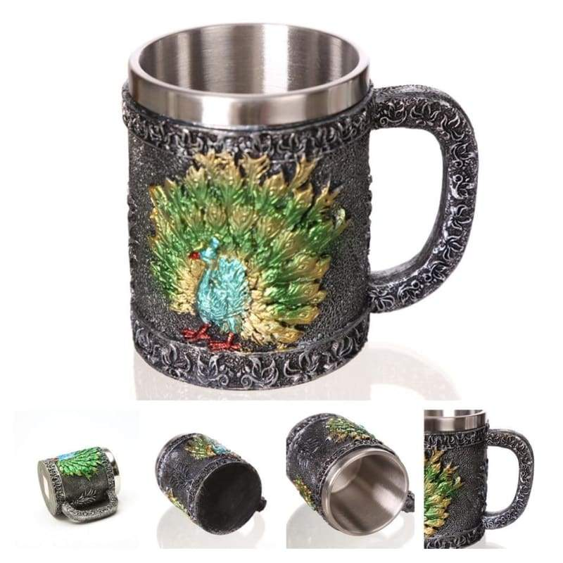 Retro Dragon Mug Skull - Peacock - Mugs