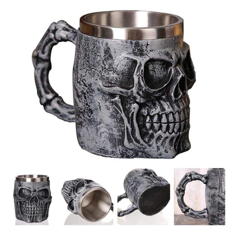 Retro Dragon Mug Skull - Silver Skull King - Mugs