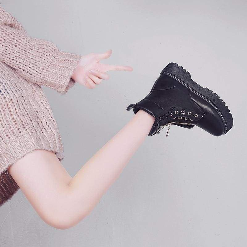 Fashionable Leather Boots - Ankle Boots