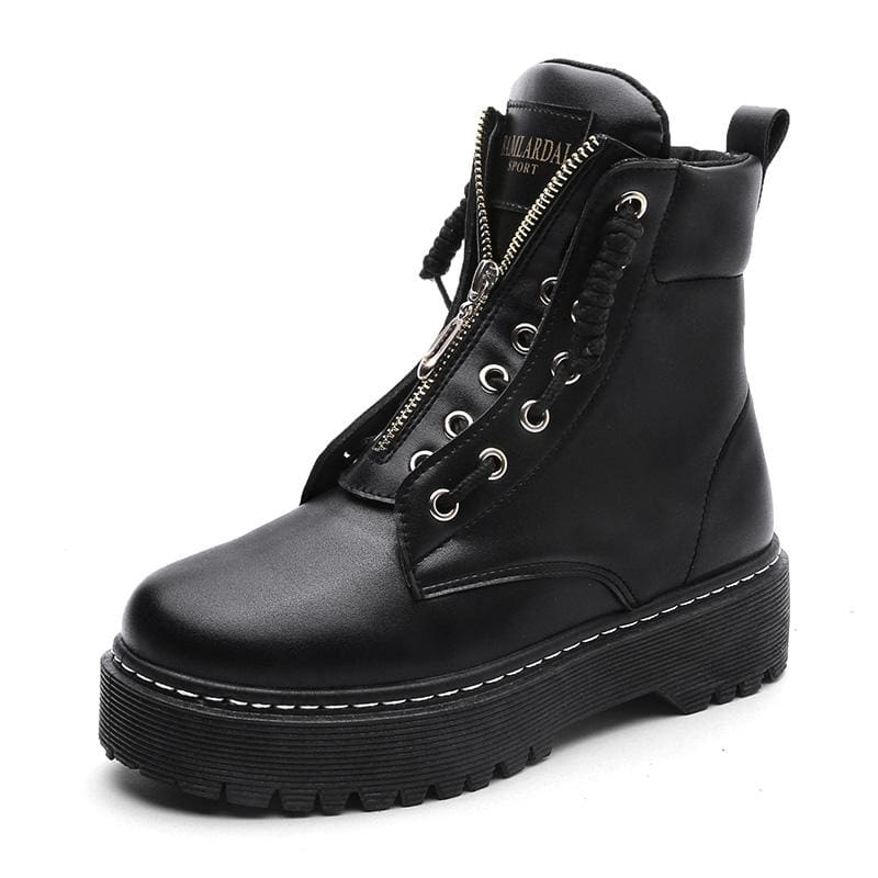 Fashionable Leather Boots - Black / 35 - Ankle Boots
