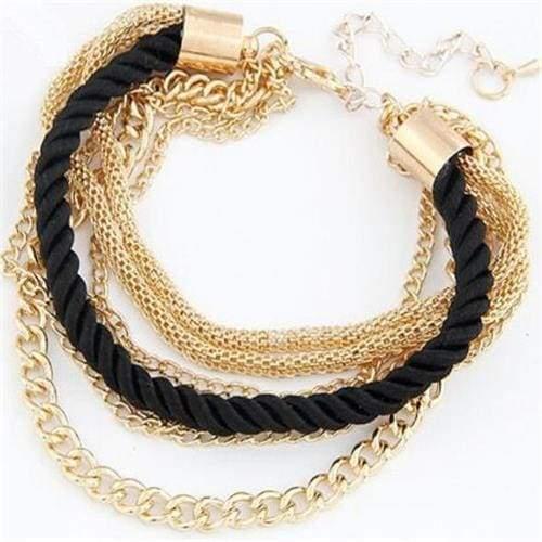 Fashionable Rope Chain Decoration Bracelet - black - Charm Bracelets
